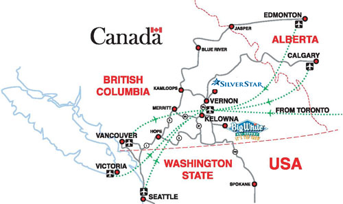 Map Of Canada Showing Kelowna.Getting Here